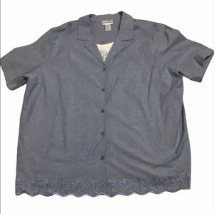 Alfred Dunner Shirt NWT Chambray Layer Plus 24W